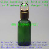 20ml green essential oil glass dropper bottle with a basket dropper cover